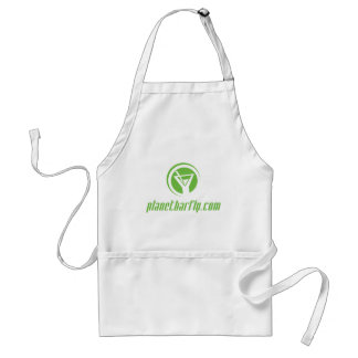 The official planetbarfly.com logo in green adult apron