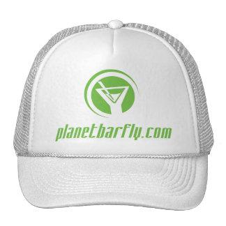 The official planetbarfly.com logo in green trucker hat