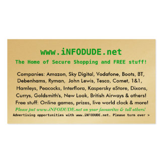 The Official www iNFODUDE net Business Card