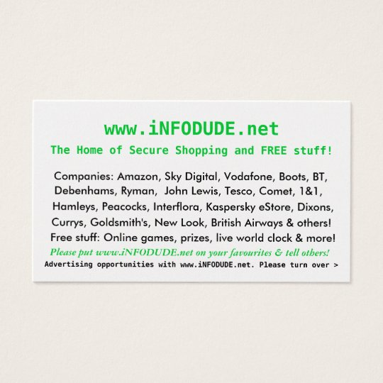 The Official www.iNFODUDE.net Business Card! Business Card