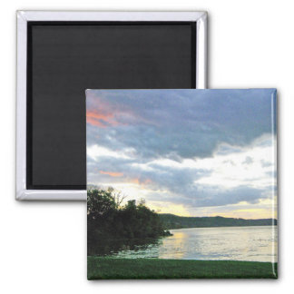 The Ohio River Valley Sunrise in Kentucky 2 Inch Square Magnet