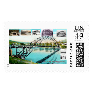 the old arch bridge, bellows falls , vt. postage stamp