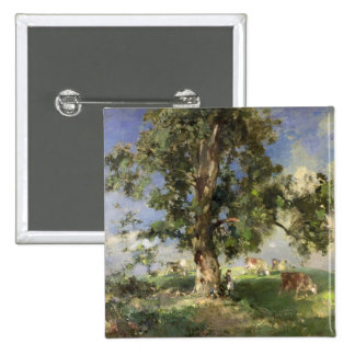 The Old Ash Tree (oil on canvas) 2 Inch Square Button