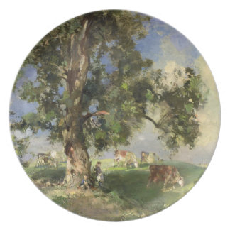 The Old Ash Tree (oil on canvas) Dinner Plate