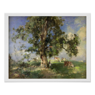 The Old Ash Tree (oil on canvas) Poster