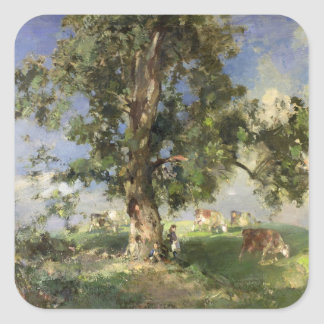 The Old Ash Tree (oil on canvas) Square Sticker