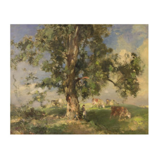 The Old Ash Tree (oil on canvas) Wood Print