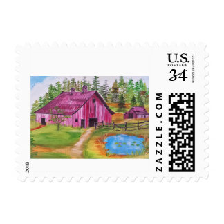 The old barn postage stamp
