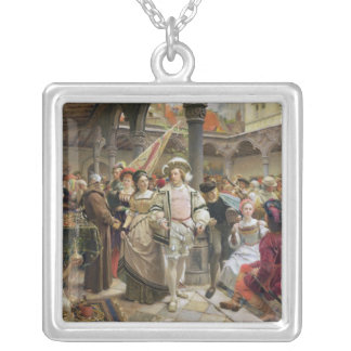 The Old Beurs at Antwerp, 1892 Square Pendant Necklace