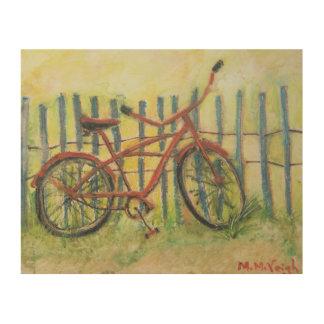 The Old Bike painting on wood panel Wood Print
