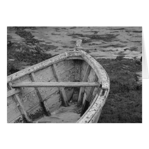 The old black and white boat greeting card