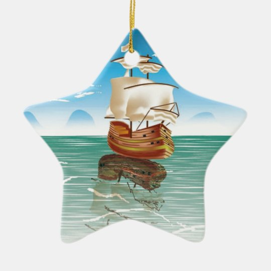 The old boat and the sea ceramic ornament