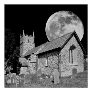 The old church and moon posters