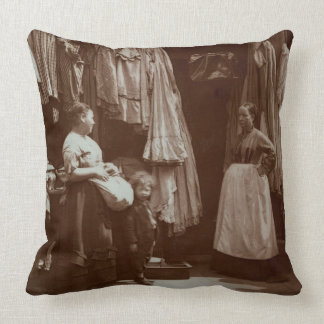 The Old Clothes Shop, Seven Dials, from 'Street Li Throw Pillow