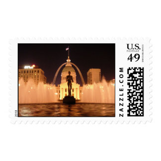The Old Court House, Fountain, and Gateway Arch Postage Stamp