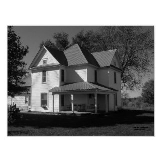 The Old Farmhouse, black and white Poster