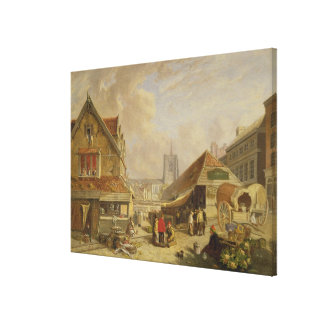 The Old Fishmarket, Norwich, 1825 (oil on panel) Canvas Print