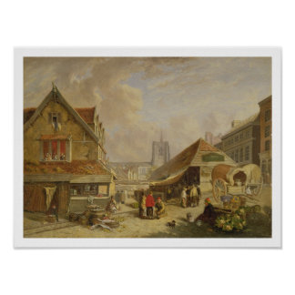 The Old Fishmarket, Norwich, 1825 (oil on panel) Poster