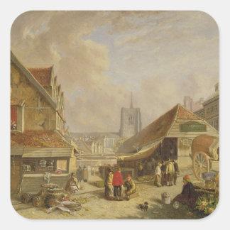 The Old Fishmarket, Norwich, 1825 (oil on panel) Square Sticker