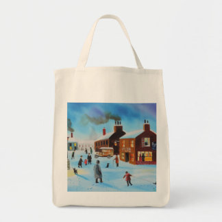 The old hovis van winter street scene nostalgic canvas bag