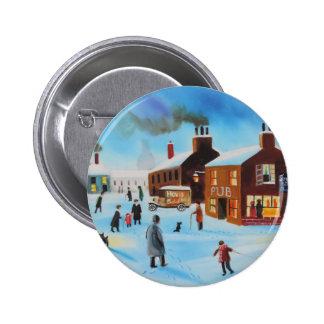 The old hovis van winter street scene nostalgic pins
