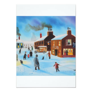 The old hovis van winter street scene nostalgic card