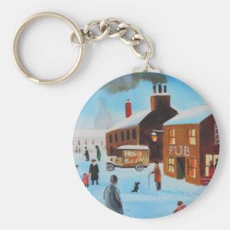 The old hovis van winter street scene nostalgic key chain