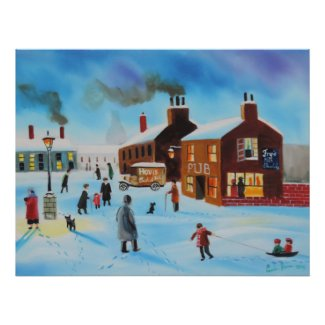 The old hovis van winter street scene nostalgic poster