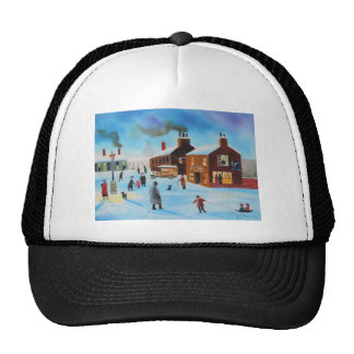 The old hovis van winter street scene nostalgic trucker hat