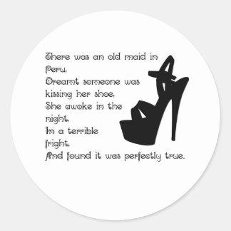 The Old Maid in Peru Classic Round Sticker