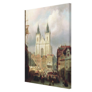 The Old Market Place at Prague, 1881 (oil on canva Gallery Wrap Canvas