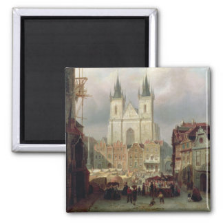 The Old Market Place at Prague, 1881 (oil on canva Magnet