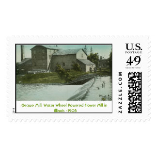 The Old Mill, Graue Mill. Water Wheel Powered F... Postage Stamps