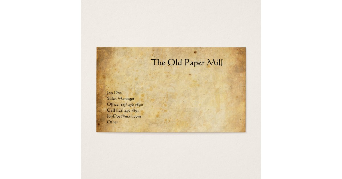 The Old Paper Mill Business Card   Zazzle.com