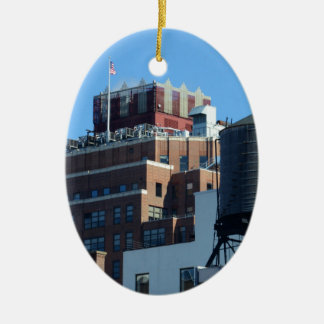 The Old Port Authority Building Double-Sided Oval Ceramic Christmas Ornament