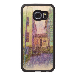 The Old prison drawing Wood Phone Case