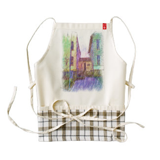 The Old prison drawing Zazzle HEART Apron