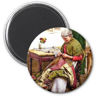The Old Quilt - Walter Langley 2 Inch Round Magnet