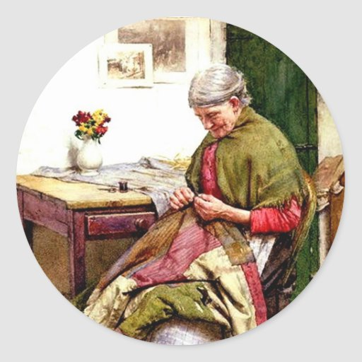 The Old Quilt - Walter Langley Classic Round Sticker