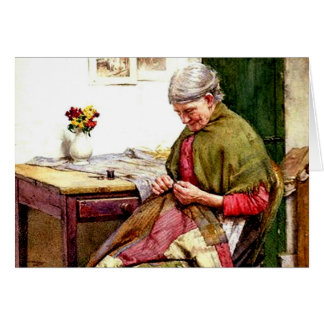 The Old Quilt - Walter Langley Greeting Card
