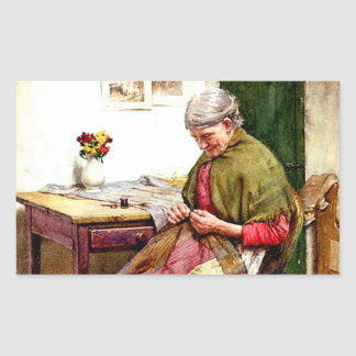 The Old Quilt - Walter Langley Rectangular Sticker