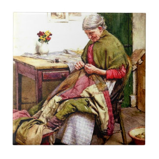 The Old Quilt - Walter Langley Tile