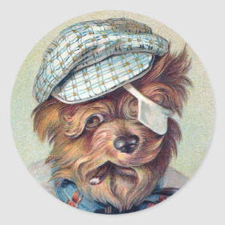 """The Old Rascal"" Vintage Dog Classic Round Sticker"