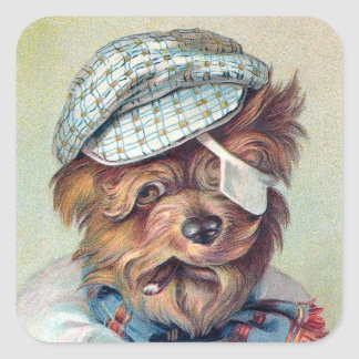 """The Old Rascal"" Vintage Dog Square Sticker"