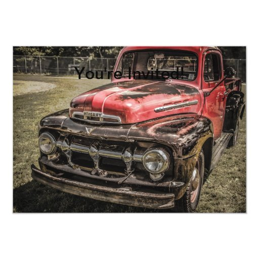 """The Old Red Antique Truck 5"""" X 7"""" Invitation Card"""