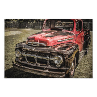 The Old Red Antique Truck Art Photo