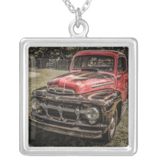 The Old Red Antique Truck Pendant