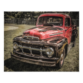 The Old Red Antique Truck Photograph