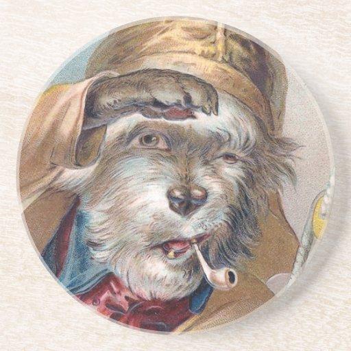 """""""The Old Sea Dog"""" Vintage Sandstone Coaster"""