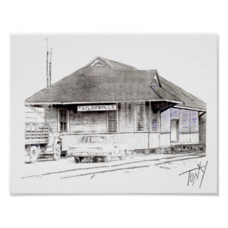 The Old Taylorsville, Mississippi Train Depot Poster